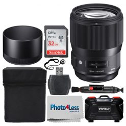 Sigma 135mm f/1.8 DG HSM Art Lens for Nikon F + 32GB Memory Card + Card Reader