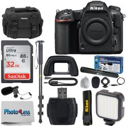 Nikon D500 DSLR Camera 20.9MP DX-Format Body + Video Light + Microphone Top Kit