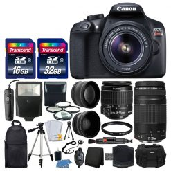 Canon EOS Rebel T6 Digital SLR Camera + Canon 18-55mm EF-S IS II Lens & EF 75-300mm III Lens + Wide Angle & 2x Lens + Macro Filter Kit + 48GB Card + Gadget Bag + Quality Tripod + Remote + Slave Flash