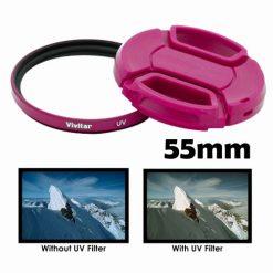 Vivitar 58mm UV Filter and Snap-On Lens Cap - Pink