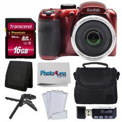 Kodak PIXPRO AZ252 Digital Camera (Red) Bundle + 16GB Memory Card + Accessories!