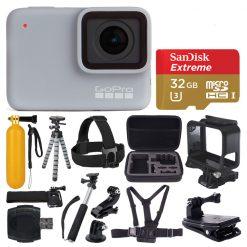 GoPro HERO7 (White) Waterproof Digital Action Camera + 32GB MicroSD + Monopod