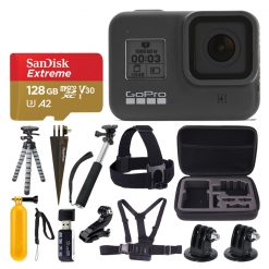 GoPro HERO8 Black Action Camera + SanDisk Extreme 128GB microSDXC Memory Card + More Top Value Accessories!