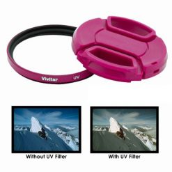 Vivitar 52mm UV Filter and Snap-On Lens Cap - Pink
