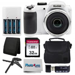 Kodak PIXPRO AZ252 Digital Camera (White) Kit + 32GB Memory Card + Accessories!