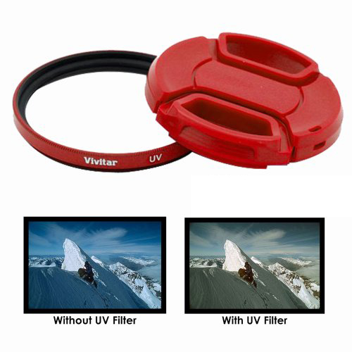 Vivitar 52mm UV Filter and Snap-On Lens Cap – Red