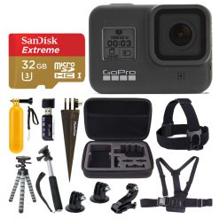 GoPro HERO8 Black Action Camcorder + Sandisk Extreme 32GB MicroSD Card & More!