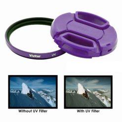 Vivitar 52mm UV Filter and Snap-On Lens Cap - Purple