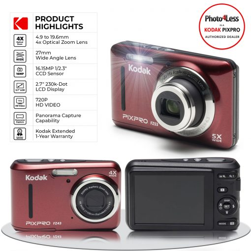 Kodak PIXPRO Friendly Zoom FZ43 16 MP Digital Camera with 4X Optical Zoom and 2.7 LCD Screen (Red)