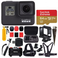 GoPro HERO7 Black + 64GB Card + Head & Chest Strap + Case + Spike Mount + More