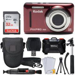 Kodak PIXPRO FZ53 Digital Camera (Red) + 32GB Card + Case + Monopod - Full Kit!