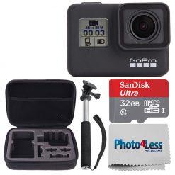 GoPro HERO7 Black Waterproof Action Camera + 32GB Card + Medium Case + Monopod