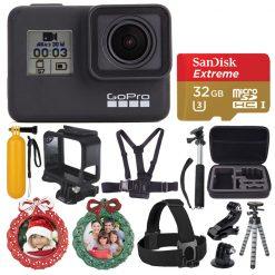 GoPro HERO7 Black Sports Action Camera Bundle + 32GB Card + Case + Wreath Frames