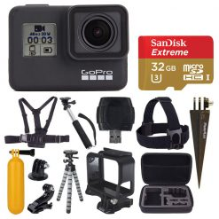 GoPro HERO7 Black Digital Action Camera + Sandisk 32GB + Top Value Accessories