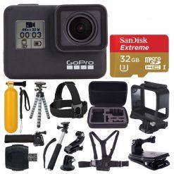 GoPro HERO7 Black Waterproof Action Camera + 32GB Card + Case + Tripod + Clamp