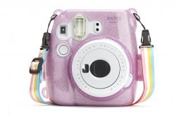 Caiul Glitter Hard Case for Fuji Instax Mini 8/9 Purple
