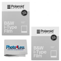 Polaroid Instant Film Black & White Film for I-TYPE, White (4669) 8 Exposures 2 Pack + Cleaning Cloth