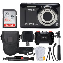Kodak PIXPRO FZ53 Digital Camera (Black) + 32GB Card + Monopod + Accessories