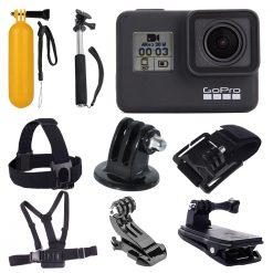 GoPro HERO7 (Black) Waterproof Digital Action Camera + Monopod +Chest Head Strap