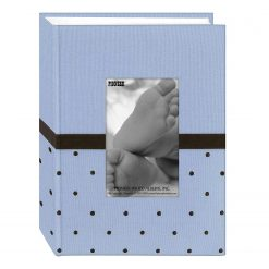 "Pioneer Photo Album 4'X6"", 1-Up, 100 Pocket Baby Embroidered Frame Fabric Photo Album Blue/Brown"