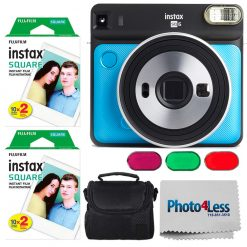 Fujifilm instax SQUARE SQ6 Instant Film Camera (Metalic Blue) + Instax 40 + Case