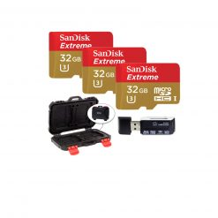 Sandisk Extreme - Flash memory Card - 32 GB - Microsdhc UHS-I - Gold, Red (3 Pack) + Memory Card Case + Card Reader