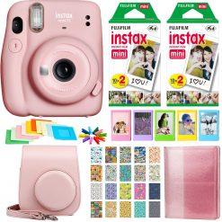 Fujifilm Instax Mini 11 Instant Camera - Blush Pink | 2 Twin Pack Film | Frames | Case | Album | Stickers - Complete Kit