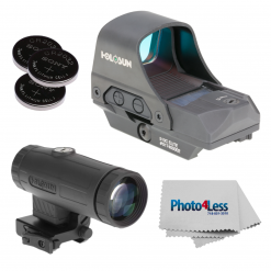 HOLOSUN HE510C-GR Elite Green Dot Sight + HM3X 3X Magnifier + Sony CR2032 Coin Battery - Qty 3 + Lens Cleaning Cloth