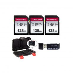 3 Transcend TS128GSDC300S UHS-I U3 SD Memory Cards, 128GB + Memory Card Case + Card Reader