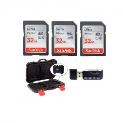 3 SanDisk 32GB Ultra SDHC UHS-I Memory Cards + Memory Card Case + Card Reader