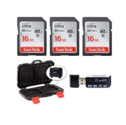 3 SanDisk 16GB Ultra UHS-I SDHC 80 MB/s Memory Cards (Class 10) + Memory Card Case + Card Reader