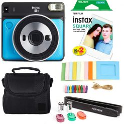 Fujifilm instax SQUARE Camera (Metallic Blue) + Instax 20 + Frames + Case