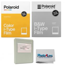 Polaroid Color Film for i-Type (8 Sheets) + Black & White (8 Sheets) + Album