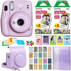 Fujifilm Instax Mini 11 Instant Camera - Lilac Purple + 2 Twin Pack Film + Album + Case + Frames + Travel Stickers + Cloth
