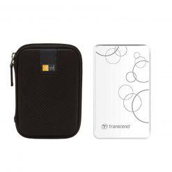Transcend 2TB StoreJet A3 USB 3.0 Hard Drive (White) + Case