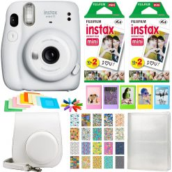 Fujifilm Instax Mini 11 Instant Camera - Ice White  | 2 Twin Pack Film | Frames | Case | Album | Stickers - Complete Kit