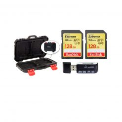 2 SanDisk 128GB Extreme UHS-I SDXC 150 MB/s Memory Cards (SDSDXV5-128G-ANCIN) + Memory Card Case + Card Reader