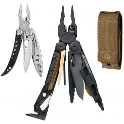 LEATHERMAN - MUT Multitool with Premium Replaceable Wire Cutters and Firearm Tools, Black with MOLLE Brown Sheath + Leatherman Lightweight  Freestyle Multitool with Knife, Stainless Steel