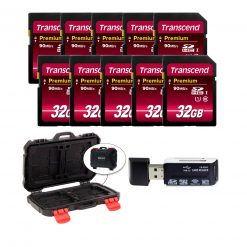Transcend 32GB Premium Class 10 SDHC Memory Card (10-Pack) + Card Reader & Case!