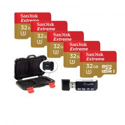 Sandisk Extreme - Flash memory Card - 32 GB - Microsdhc UHS-I - Gold, Red (5 Pack) + Memory Card Case + Card Reader