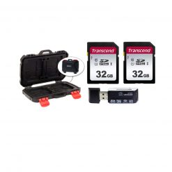 2 Transcend TS32GSDC300S 32GB UHS-I U1 SD Memory Cards + Memory Card Case + Card Reader