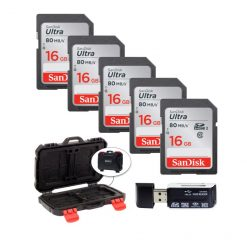 5 SanDisk 16GB Ultra UHS-I SDHC 80 MB/s Memory Cards (Class 10) + Memory Card Case + Card Reader