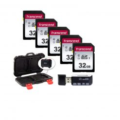 5 Transcend TS32GSDC300S 32GB UHS-I U1 SD Memory Cards + Memory Card Case + Card Reader