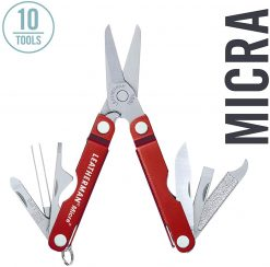 LEATHERMAN - Micra Keychain Multitool with Spring-Action Scissors and Grooming Tools, Red
