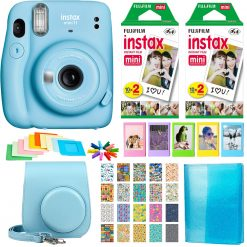 Fujifilm Instax Mini 11 Instant Camera (Sky Blue) | 2 Twin Pack Film | Frames | Case | Album | Stickers - Complete Kit