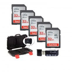 5 SanDisk 32GB Ultra SDHC UHS-I Memory Cards + Memory Card Case + Card Reader