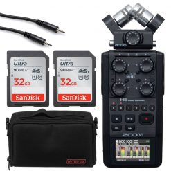 Zoom H6 All Black Recorder + 2x 32GB Memory Card + Case + Cable