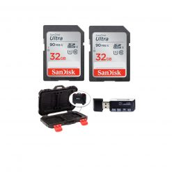 2 SanDisk 32GB Ultra SDHC UHS-I Memory Cards + Memory Card Case + Card Reader
