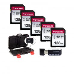 5 Transcend TS128GSDC300S UHS-I U3 SD Memory Card, 128GB + Memory Card Case + Card Reader
