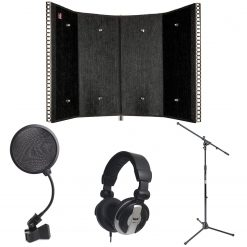 sE Electronics RF-PRO Portable Acoustic Treatment Filter PRO + CAD Audio Closed-back Studio Headphones + On Stage MS7701B Euro Boom Microphone Stand + On Stage ASVS4B 4-Inch Pop Filter
